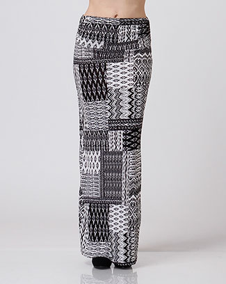 PRINTED LONG SKIRT KNIT - orangeshine.com
