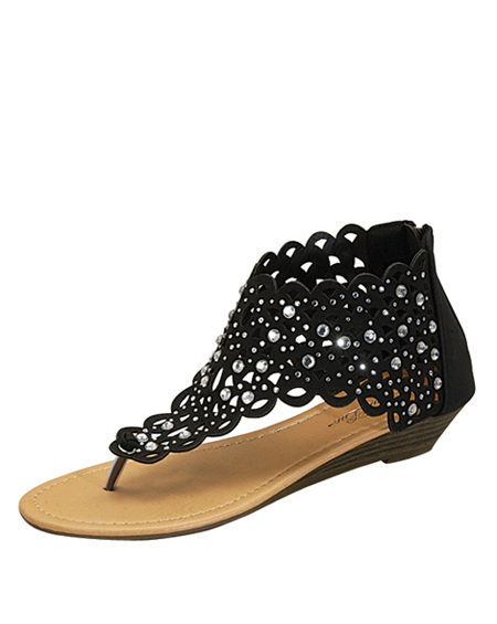 CUT OUT TOE THONG SHORT WEDGE SANDAL - orangeshine.com