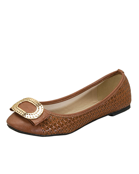 DESIGNED BALLERINA FLAT WITH GOLD FINISH - orangeshine.com