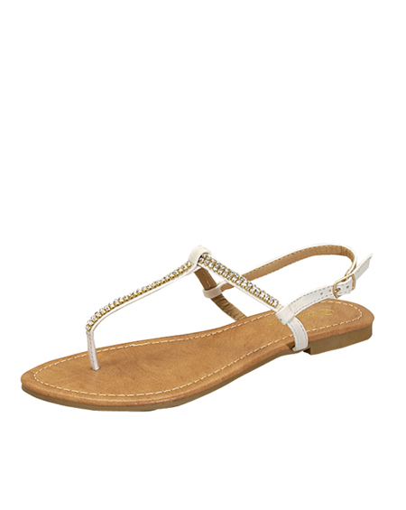 JEWELED TOE THONG T STRAP SANDAL - orangeshine.com