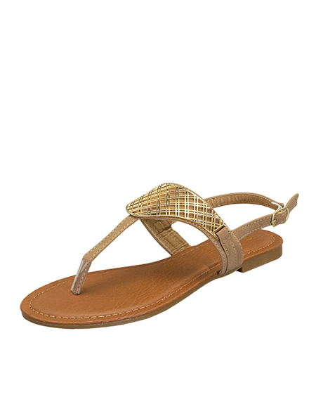 T STRAP SANDAL WITH GOLD FINISH - orangeshine.com