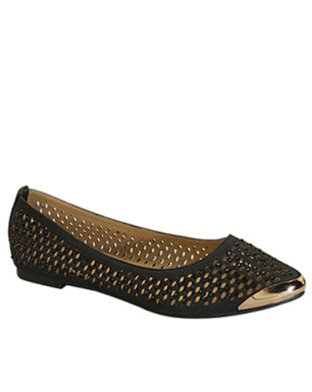 CUT OUT BALLERINA FLAT WITH GOLD TIP - orangeshine.com