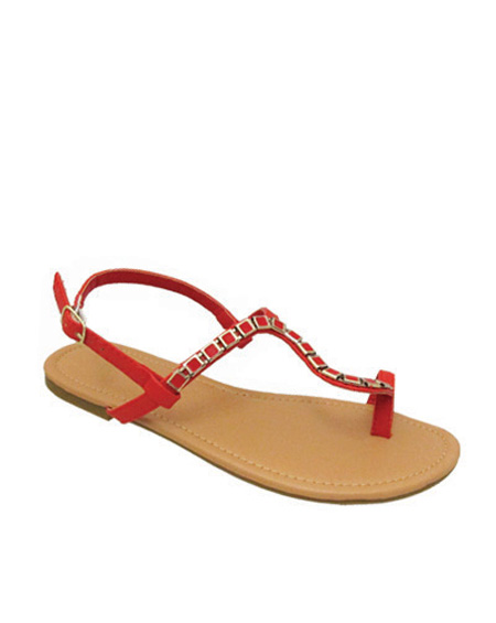 STRAPPY SANDAL WITH GOLD CHAIN - orangeshine.com