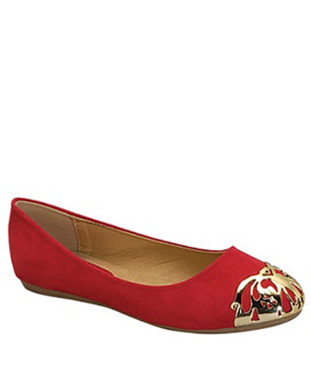 SOLID BALLERINA FLAT WITH GOLD TIP - orangeshine.com