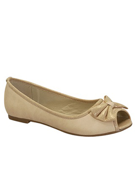 PEEP TOE BALLERINA FLAT WITH BOW - orangeshine.com