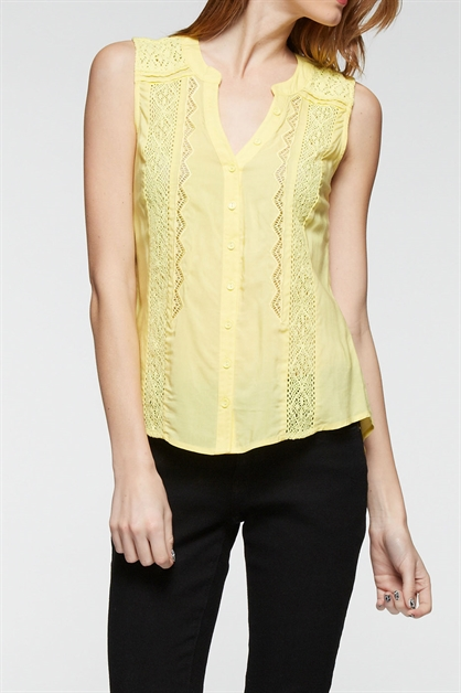 Lace trim sleeveless top - orangeshine.com