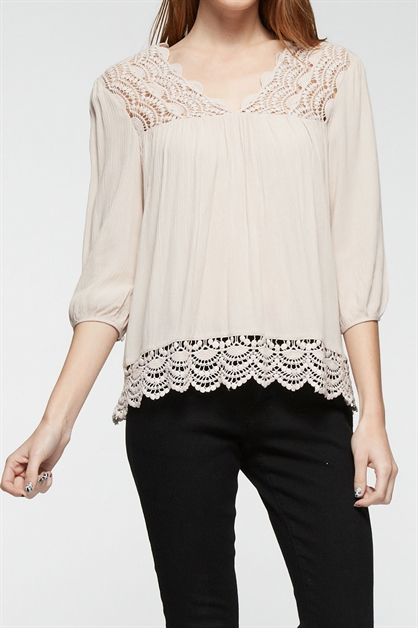 Woven top lace trimmed - orangeshine.com