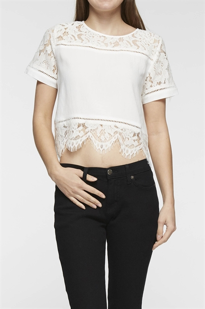 WOVEN LACE CROP TOP - orangeshine.com