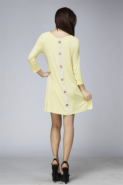Laced Back Buttons Solid Tunic - orangeshine.com