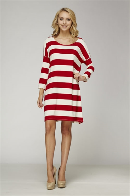 Striped Tunic 3/4 Sleeve Dress - orangeshine.com