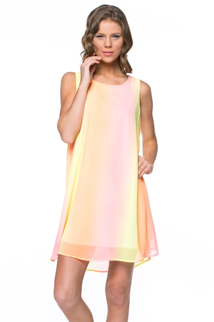 Gradient Color Shift Dress - orangeshine.com
