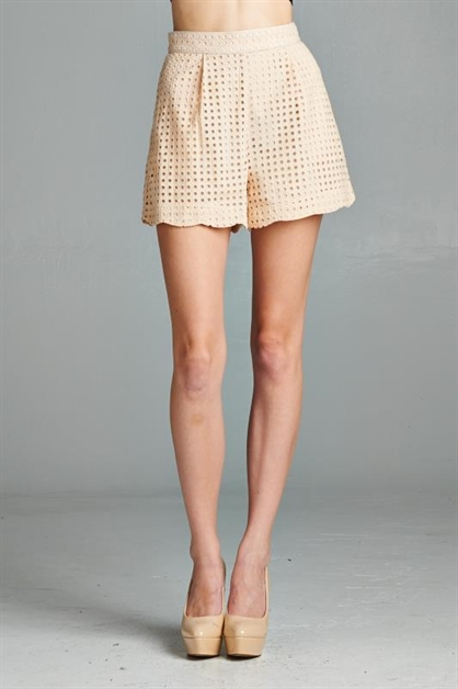 Scallop Eyelet Shorts - orangeshine.com