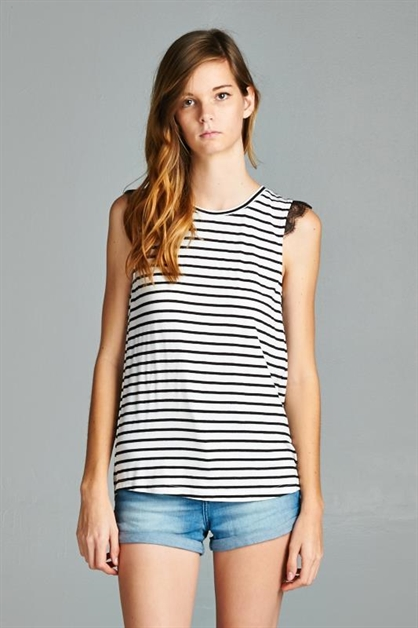 Lace Trim Striped Tank - orangeshine.com