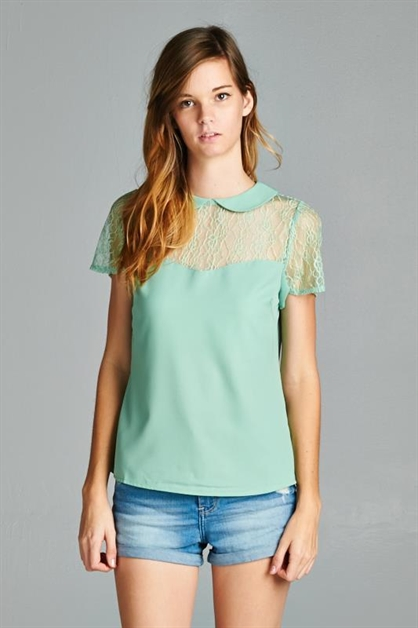 Collared Lace Trim Blouse - orangeshine.com