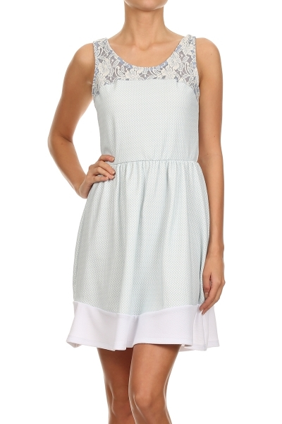 A-LINE WITH LACE TRIM DRESS - orangeshine.com