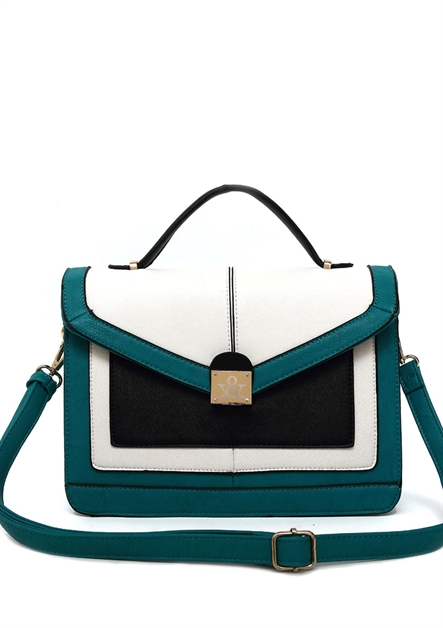 Three Tone Flap Satchel Bag - orangeshine.com