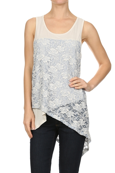 Duo fabric floral lace tank - orangeshine.com