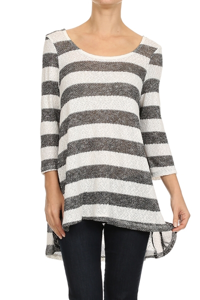 Stripe Inserted Sleeve Top - orangeshine.com