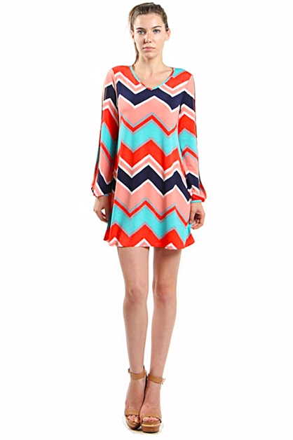 CHEVRON PRINT DRESS - orangeshine.com