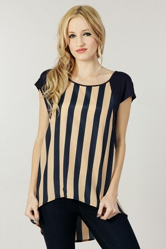 striped high low blouse - orangeshine.com
