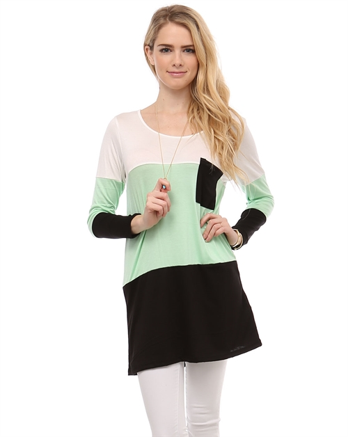MULTI COLOR BLOCK POCKET TOP - orangeshine.com