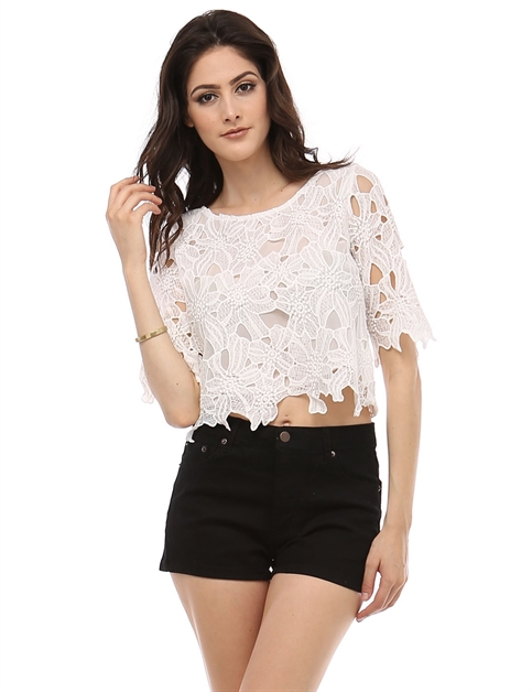 BIG FLOWER LACE CROPPED TOP - orangeshine.com