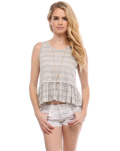 Striped Top Ruffled T11531-2 - orangeshine.com