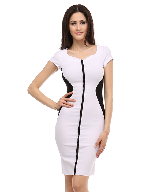 COLORBLOCK PENCIL DRESS - orangeshine.com