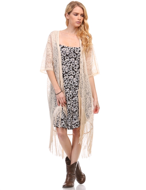 ASHLEY FRINGE KIMONO - orangeshine.com