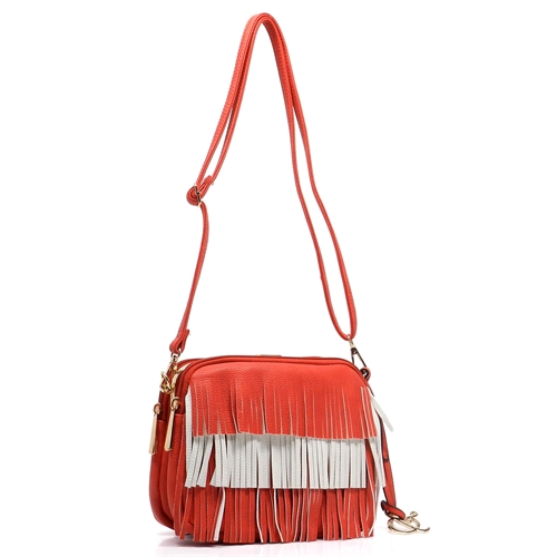 2 Toned Fringe Cross Body Bag - orangeshine.com