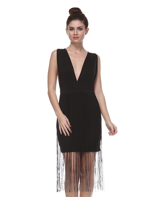 SOLID WITH FRINGE DRESS - orangeshine.com