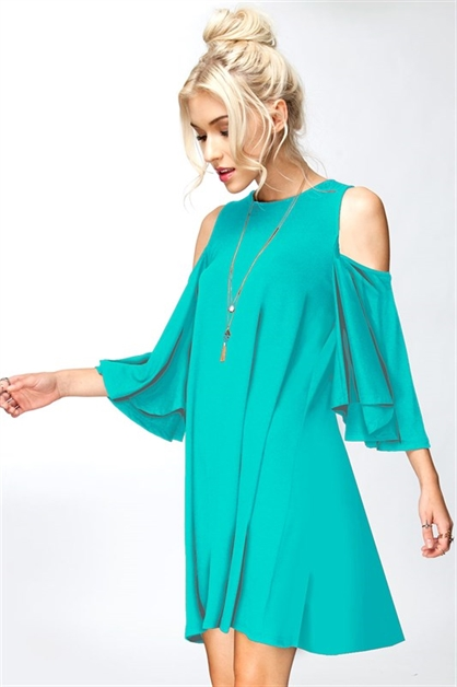 RUFFLED COLD SHOULDER DRESS - orangeshine.com