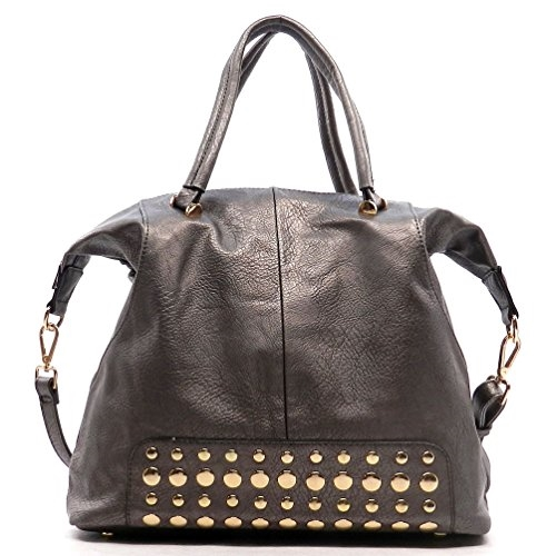 Studded Top Handle Satchel - orangeshine.com