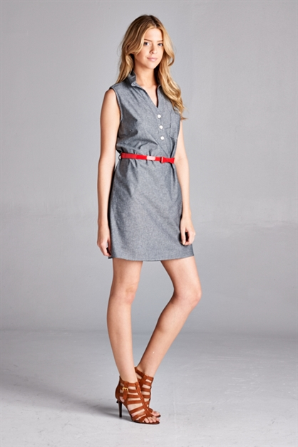 DENIM COLLARED SHIRT DRESS - orangeshine.com