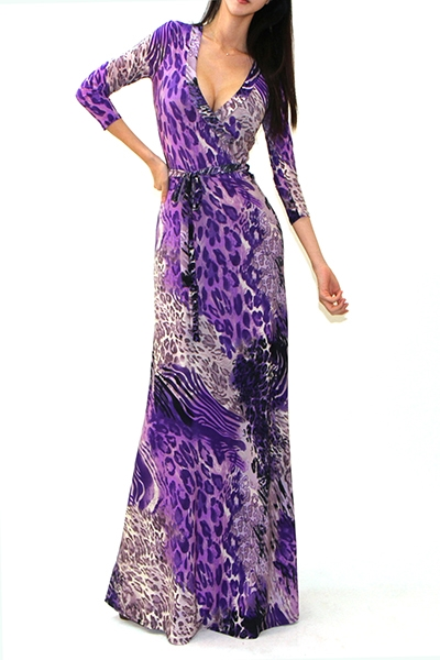 3/4 SLEEVE PRINT MAXI DRESS - orangeshine.com