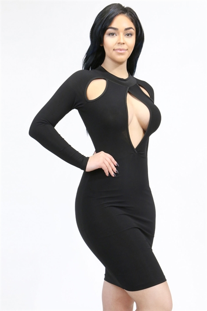 Long sleeve bodycon dress - orangeshine.com