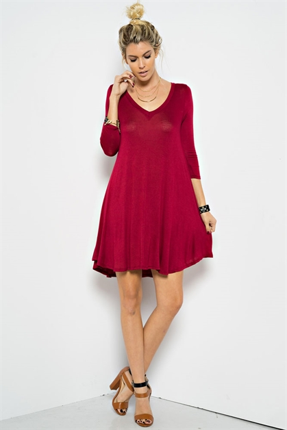 3/4 Sleeve Trapeze Mini Dress - orangeshine.com