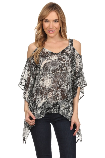 COLD SHOULDER PONCHO TOP - orangeshine.com