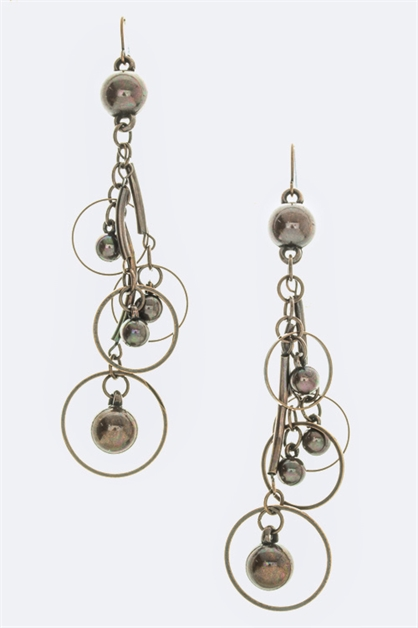 Metal Hoop N Bead Earrings - orangeshine.com