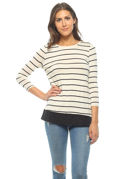 Short Sleeve Stripe Tunic - orangeshine.com