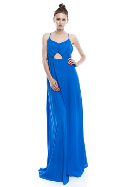 ButtonCut Out Front Maxi Dress - orangeshine.com
