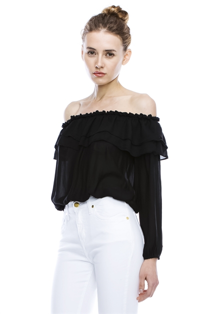 OFF-SHOULDER DOUBLE LAYER TOP - orangeshine.com