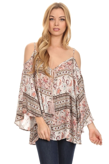 Paisley printed peasant top - orangeshine.com