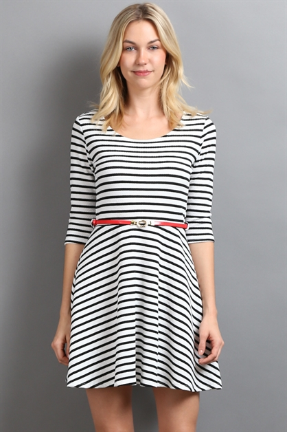 STRIPED 3/4 SLEEVE DRESS - orangeshine.com