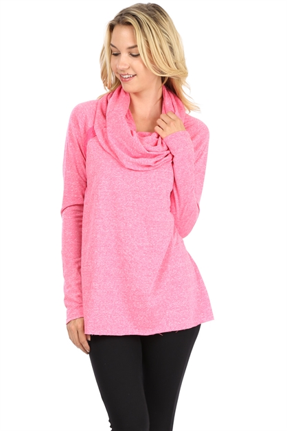 COWL NECK LONG SLEEVE TUNIC - orangeshine.com