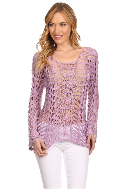 Long sleeve crochet top - orangeshine.com