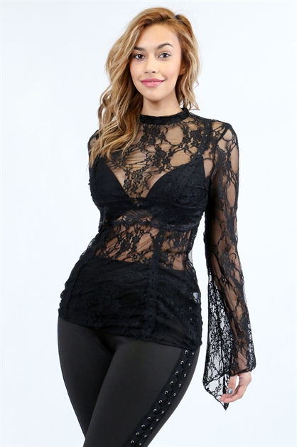 floral lace see-through top - orangeshine.com