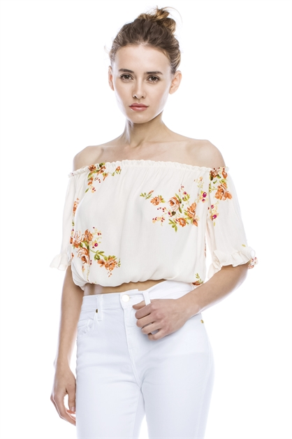 FLORAL OFF SHOULDER CROPPED TO - orangeshine.com