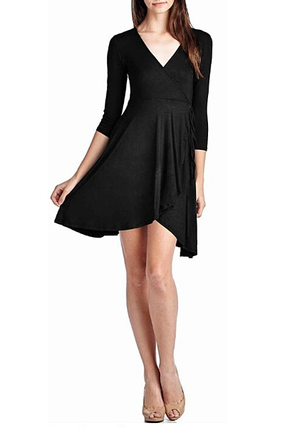 V-NECK WAIST TIE DRESS - orangeshine.com