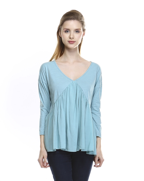 V-NECK SHIRRED TOP - orangeshine.com